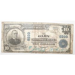 1902 $10 NATIONAL CURRENCY GARY, WEST VIRGINIA #8333 VG