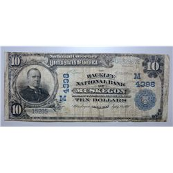 1902 $10 MUSKEGON MI. HACKLEY BANK VG-F