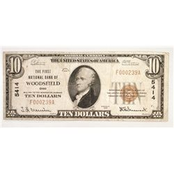 1929 $10 FIRST NATIONAL BANK WOODSFIELD, OHIO FINE