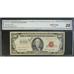 1966 $100 U.S. NOTE, FR-1550 CGA, VF20,writing