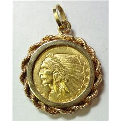1926 $2.50 INDIAN GOLD COIN IN A 14K BEZEL