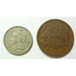 2 OBSOLETE TYPE COINS- 1864 2 CENT, & 1869 3 CENT NICKEL