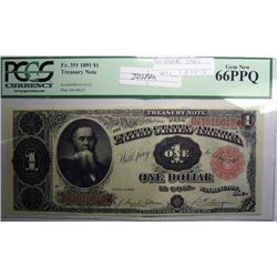 1891 $1.00 TREASURY NOTE FR. 351 PCGS MS66 PPQ! WOW!