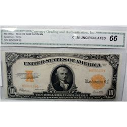 1922 $10.00 GOLD CERTIFICATE FR. 1173A CGA66 SUPERB NOTE, GREAT COLORS!