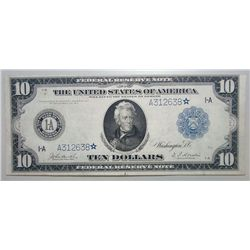 1914 $10 FEDERAL RESERVE STAR NOTE BOSTON AU/UNC