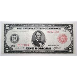 1914 FIVE DOLLAR FEDERAL RESERVE NOTE RED SEAL AU/UNC