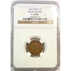 1922 no D Lincoln penny  NGC12BN