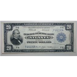 1918 $20 FEDERAL RESERVE NOTE ATLANTA CHOICE CU