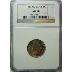 1883 NO CENTS LIBERTY NICKEL NGC MS-66
