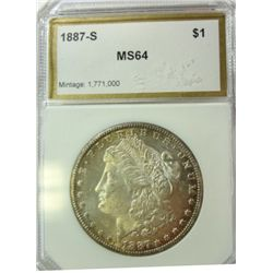 1887-S MORGAN DOLLAR PCI MS-64