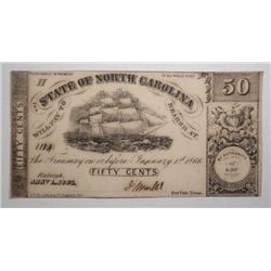 50 CENT NORTH CAROLINA 1863 NOTE CHOICE UNC