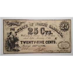 25 CENT STATE OF NORTH CAROLINA 1863 CHOICE UNC