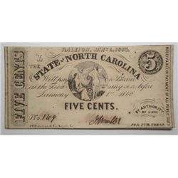 5 CENT STATE OF NORTH CAROLINA 1863 CHOICE UNC
