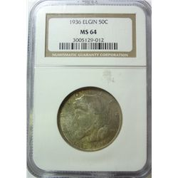 1936 ELGIN COMMEMORATIVE HALF NGC MS-64