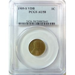 1909-S VDB LINCOLN CENT PCGS AU-58