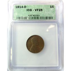 1914-D LINCOLN CENT ICG VF-25