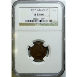 1909-S INDIAN CENT NGC VF-35