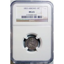 1853 SEATED LIBERTY DIME ARROWS NGC MS-65 GEM