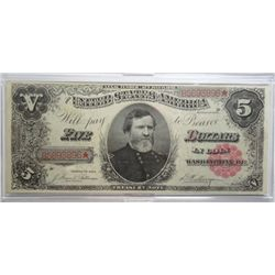 1891 $5 TREASURY NOTE XF/AU