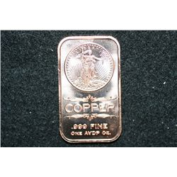 2012 Copper Ingot, .999 Fine 1 Oz.
