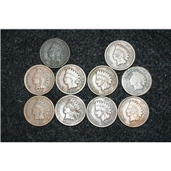 Indian Head Penny, various dates & conditions, lot of 10