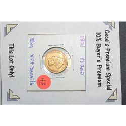 1874 Indian Princess $3 Gold Coin w/ding, VF+ Details  **CeCe's Premium Special 10% Buyer's Premium-