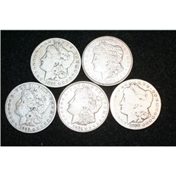 1888-S, 1891, 1899-O, 1921-D & 1921-S Silver Morgan $1, lot of 5