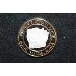 The New Playmate Ranch, Limited Edition Two-Tone $10 Silver State Brothel Token, .999 Fine