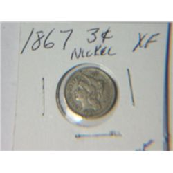 1867 3 CENT NICKLE
