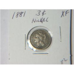 1881 3 CENT NICKLE