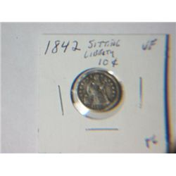 1842 SITTING LIBERTY 10 CENT