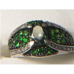 RUSSIAN CHROME DIOPSIDE GREEN APATITE RING SIZE 10 WITH DIAMONDS