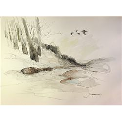 Original Water Color drawing on laid paper - signed by schofield