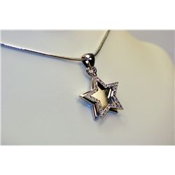 Lady's Beautiful 14k White Gold Diamond  STAR  shaped Necklace