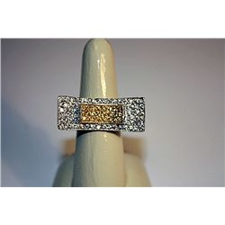 Very Fancy Sterling White & Golden Sapphire Ring