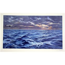Norman Gautreau Hand Signed and Numbered Lithograph - Lindbergh's Solo Flight Across the Atlantic -