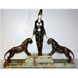 Signed Bouraine Bronze and Ivory - Master of the Beast