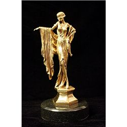 Rearl  Origanal limited edition 24k gold Art Deco Chiparus Sculpture -Lady Dancer