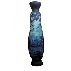 Galle Signed Vase in Dark Blue with Mountain Lake Scenery