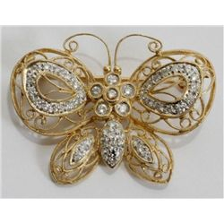 YELLOW GOLD FILIGREE & DIAMOND BUTTERFLY PIN