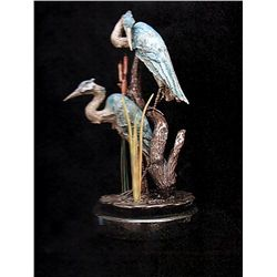 Bronze Sculpture - Heron on a Branch by J. Townsend