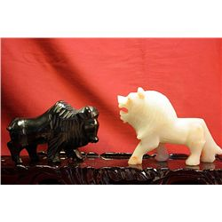 Original Hand Carved Marble  Buffalo & Lion  by G. Huerta