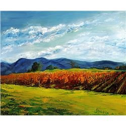 Silvia A. - COUNTRY VINEYARD- Hand Signed Limited Ed. Lithograph on Canvas