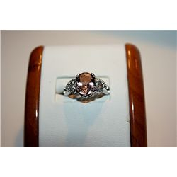 Lady's Fancy 14 kt White Gold Rare Gold Topaz & Diamond Ring
