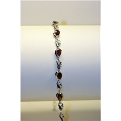 Lady's Fancy Silver Garnet Bracelet