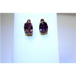 Beautiful 14kt Yellow Gold Amethyst Earrings