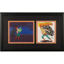 Hawkman Orig Animation Production Cel & 2 Drawings Frmd