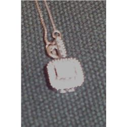 Diamond White Gold Square Necklace