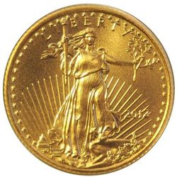 THREE $5 AMERICAN PURE GOLD EAGLES 1/10oz COIN - BU GEM, ASSTD DATES