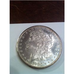 1880 MS CARSON CITY MORGAN SILVER DOLLAR, BRILLIANT UNCIRCULATED